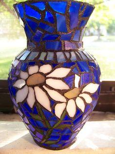 Mosaic White Daisy Vase by mycentirmosaics on Etsy, $50.00