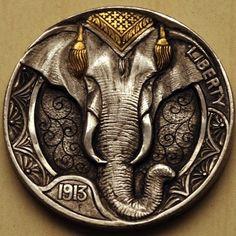 SAM ALFANO HOBO NICKEL - ELEPHANT* - 1913 BUFFALO NICKEL
