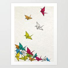 cranes origami Art Print by Manoou - X-Small Crane Drawing, Origami Art, Origami Cranes, Oragami, Paper Cranes, Crane Tattoo, Peace Poster, Art Plastique, Wall Art Designs