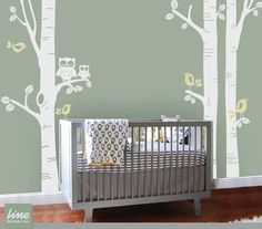 Items similar to NURSERY Owl Theme - Birch Tree Decal - Children Wall Decal Wall Sticker Nursery decal on Etsy Owl Themed Nursery, Owl Nursery, Nursery Room, Church Nursery, Bird Wall Decals, Tree Decals, Wall Art, Accent Walls In Living Room, Accent Wall Bedroom