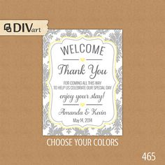 PRINTABLE Welcome Bag Tag, Wedding Favor Tags, Hang Tags, Thank You Tags - welcome, yellow and gray or any colors by DIVart
