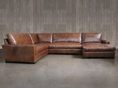 """Braxton Leather """"L"""" Sectional Sofa with Chaise"""