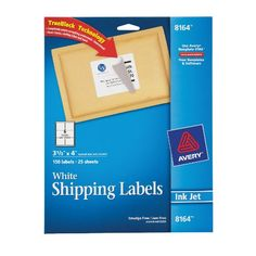 Avery Shipping Labels for Ink Jet Printers with TrueBlock Technology, 3.33 x 4 Inches, White, Pack of 150 (08164) Avery http://www.amazon.com/dp/B000093L1K/ref=cm_sw_r_pi_dp_YKS9tb011QNNM