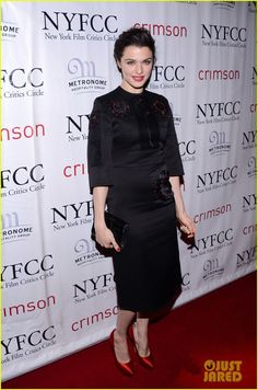 Rachel Weisz wore a Prada dress, Charlotte Olympia shoes, and a Jimmy Choo bag.