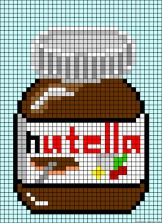 Pixel Art Ideas Templates Creations Easy / Anime / Pokemon / Game / Gird Maker Nutella jar perler bead patternNutella jar per Cross Stitching, Cross Stitch Embroidery, Cross Stitch Patterns, Hand Embroidery, Pearler Bead Patterns, Perler Patterns, Loom Patterns, Perler Bead Art, Perler Beads