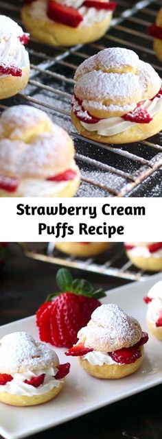 Best Dessert Recipes, Fun Desserts, Sweet Recipes, Delicious Desserts, Strawberry Cream Puff Recipe, Mousse, Homemade Pastries, Caramel, Strawberry Desserts