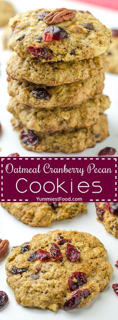 Breakfast Oatmeal Cranberry Pecan Cookies - a healthy, easy and delicious way to start your day! Soft and chewy oatmeal cookies packed with cranberries, pecans and chocolate chips! Pecan Cookie Recipes, Pecan Cookies, Oatmeal Recipes, Oatmeal Cookies, Yummy Cookies, Dessert Recipes, Cookies Soft, Cranberry Cookies, Baking Cookies