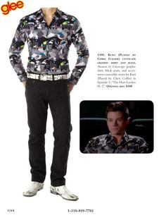 """Kurt (Played by Chris Colfer) cityscape graphic shirt and jeans. (Season 6) Cityscape graphic shirt, black jeans, and accessories ensemble worn by Kurt (Played by Chris Colfer) in Episode 5: """"The Hurt Locker, Pt. 2""""."""