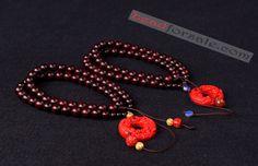 lobular red sandalwood women beaded necklace