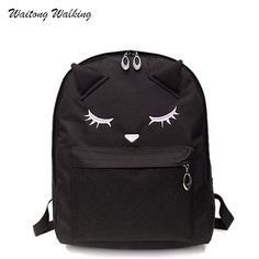 Women Bagpack 2017 Canvas Embroidery Cat Backpacks Korean Style School Bags  For Teengage Girls Brand Bag c927e17c1248f