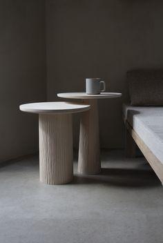 vosgesparis: Pedestal tables by Vilde Hagelund Multipurpose Furniture, Modular Furniture, Pedestal Side Table, Geometric Solids, Ceiling Installation, Sustainable Furniture, Solid Oak, Decoration, Scandinavian Design