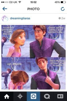 I really want Disney to make a short that's just Rapunzel and Eugene in Frozen. It wouldn't even need to have any other characters for me to be happy! It could just be the two of them sitting there and obviously Eugene would be complaining about it! Disney Pixar, Disney Tangled, Disney Fun, Disney And Dreamworks, Disney Animation, Disney Magic, Tangled Funny, Disney Stuff, Tangled Rapunzel