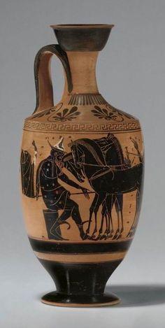 Attik Siyah Figür Lekythos. M.Ö. 520-500 yılları. Leagros Grubu.