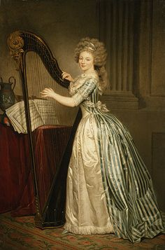 Self portrait with Harp, 1790 by Rose-Adélaïde Ducreux (French, 1761–1802