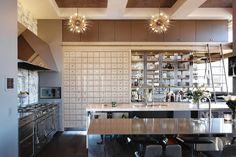 Modern Kitchen with L-shaped, Hardwood floors, Breakfast bar, Zanadoo Small Chandelier in Gold, Flush, Undermount Sink
