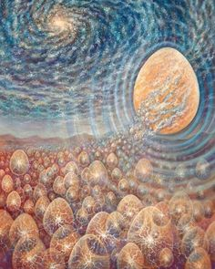 "⚡ Energetically potent painting, ""Eggcension"", by Amanda Sage. Cosmic Egg, Illustrator, Spirited Art, Visionary Art, Sacred Art, Psychedelic Art, American Artists, All Art, Original Paintings"