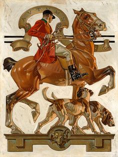 Leyendecker Fox Hunting Print 11 x 14 Art And Illustration, American Illustration, Jc Leyendecker, Frederic Remington, Fox Hunting, Norman Rockwell, Traditional Paintings, Art Graphique, Horse Art