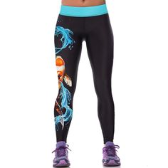 2016 Femmes Coloré 3D Imprimé Pantalons Leggings Stretch Fitness Crayon Pantalon