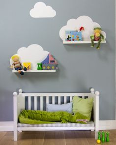 { DIY } cloud shelves using ikea ribba ledges and a wall decal (or paint directly onto wall)