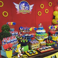 Sonic Birthday Parties, Sonic Party, Birthday Party Themes, Boy Birthday, Bolo Sonic, Sonic Cake, Hedgehog Birthday, Hedgehog Cake, Fiesta Party
