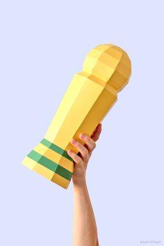 Pokal basteln aus Papier (kostenlose Vorlage) / PaperShape #deko #papercraft #wm