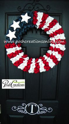 4th of July Rustic Burlap Wreath American Flag by poshcreationsKY, $95.00  #trendytree #patrioticwreath