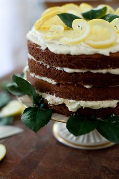 """Recipe for Black Tea Cake with Lemon Buttercream Frosting and a step by step guide for frosting a """"naked"""" layer cake."""