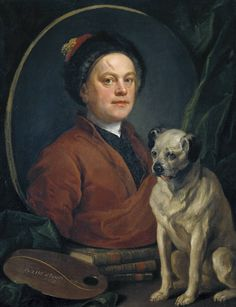"The Painter and His Pug by William Hogarth. William Hogarth; 10 November 1697 – 26 October 1764) was an English painter, printmaker, pictorial satirist, social critic, and editorial cartoonist who has been credited with pioneering western sequential art. His work ranged from realistic portraiture to comic strip-like series of pictures called ""modern moral subjects""."