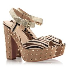 e2b0a6973ded Animal Prints · Ash BEAUTY BIS Zebra cream studded chunky heel platform  sandals Chunky Heel Platform Sandals