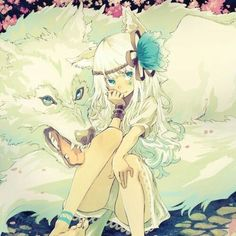 Oh Rei, look at what we have here! *pets the wolf behind me* It looks like it's a human! Hmm... *looks you up and down* humans shouldn't be this far in the forest. The scary wolf might eat you, you know! *giggles*