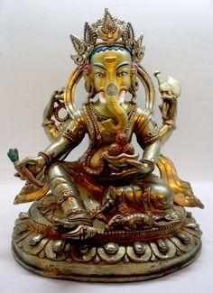 Honey Ganesha Lord Ganpati Idol Amulet Success Rich God Hindu Charm Brass Statue #11 Collectibles Statues & Figures