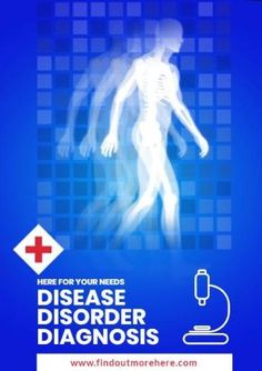Warning awareness on 'disease disorder diagnosis' with a blue background and an image of a human.