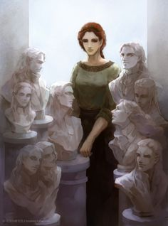 Nerdanel with sculpted busts of her husband and sons