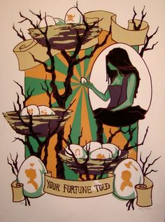 """Your Fortune Told"" screen print by Jenny Fontana   https://www.facebook.com/morbidmerrygoround/photos/a.315537108466993.73799.187998914554147/329457843741586/?type=3"