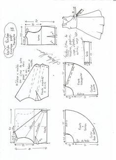 esquema de modelagem de vestido vintage envelope tamanho 38
