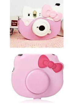 Leather Camera Case Bag For Fujifilm Polaroid instax mini Hello Kitty 40th Pink