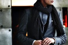Pin dot scarf...more blazer scarf look...yes!!