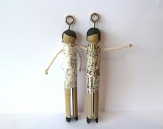 Two peg dolls by MoggyMoo, via Flickr