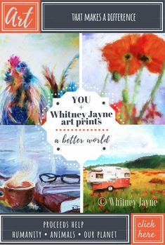 Be part of positive change every time you purchase a Whitney Jayne art print or printable art. Proceeds support animal, social, and environmental well-being! choose from a wide variety of animal art, landscapes, country art, cityscapes, urban and industrial art, vintage cars and trailer/camper art and more.  $5.95-$45.95  #artwithacause #wallart #homedecor #printableart #artprints #colorfulart #fineart #modernart #cityscapes #oregonart #flowerart #animalart
