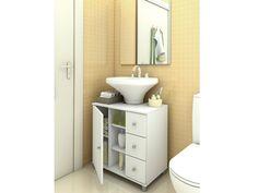 Gabinete para Banheiro Politorno Simples com Tampo 1 Porta 3 Gavetas - Armários e Gabinetes p/ Banheiro - Magazine Luiza