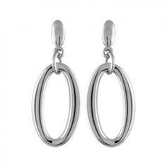 Boucles d'oreilles pendantes en acier maillon ovale suspendu et fermoir tige à poussette