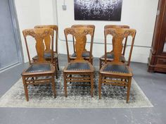 Antiques By Design - Solid Quarter Sawn Oak Press Back Dining Chairs Trendy Furniture, Selling Furniture, Furniture Market, Antique Dining Chairs, Dining Table Chairs, Side Chairs, Ball Chair, Stylish Chairs, Metal Chairs