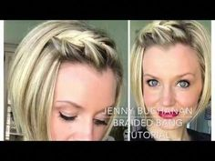 How to braid your bangs with short hair - hair cuts - Frisuren Short Hair With Bangs, Braids For Short Hair, Short Hair Cuts, Twisted Bangs, How To Style Short Hair, Pixie Cuts, Thick Hair, How To Braid Your Own Hair Short, Short Hair Twist