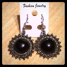 Black Starburst Earrings Very bohemian and cute! Perfect for any night out. Not heavy at all. Brand new!  FREE HANDMADE WIRE WRAP RING WITH EVERY ORDER! The Purple Temple Jewelry Earrings