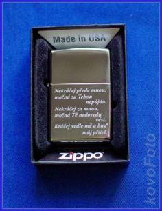 zippo zapalovač pánský s vyrytým textem