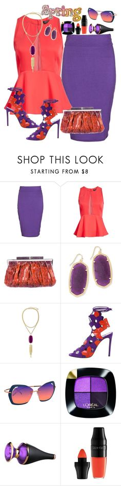"""Orange and Purple"" by dobesht ❤ liked on Polyvore featuring Boohoo, Trouvé, Judith Leiber, Kendra Scott, Casadei, Silhouette, L'Oréal Paris, Bulgari and Lancôme"