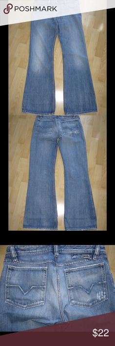 """Diesel Industry Distressed Jeans Distressed relaxed light wash jeans. 31.5"""" inseam. In good condition. Some Stitching on back pockets & waist tag came off. Button fly. Ask any questions! 📦Same/ Next Day Shipping 🚫Paypal/ Trades ✅Bundles 🚫Smoke Free diesel industry Jeans Relaxed"""