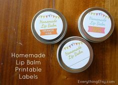 cute printable round labels for lip balm tin | Homemade Lip Balm - Printables - EverythingEtsy