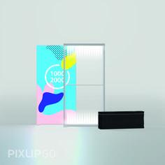 Leuchtwand 1000 x 2000 x 150 mm Durch die Leichtbauweise aus Kunststoff ist PIXLIP GO leicht zu transportieren. Ob in der komfortablen Tragetasche oder im praktischen Versandkarton: PIXLIP GO passt in jeden Kofferraum.