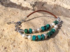 Mother pearl, green turquoise, Sterling silver, genuine leather handmade bracelet. by KutecraftsDesigns on Etsy https://www.etsy.com/listing/227230184/mother-pearl-green-turquoise-sterling